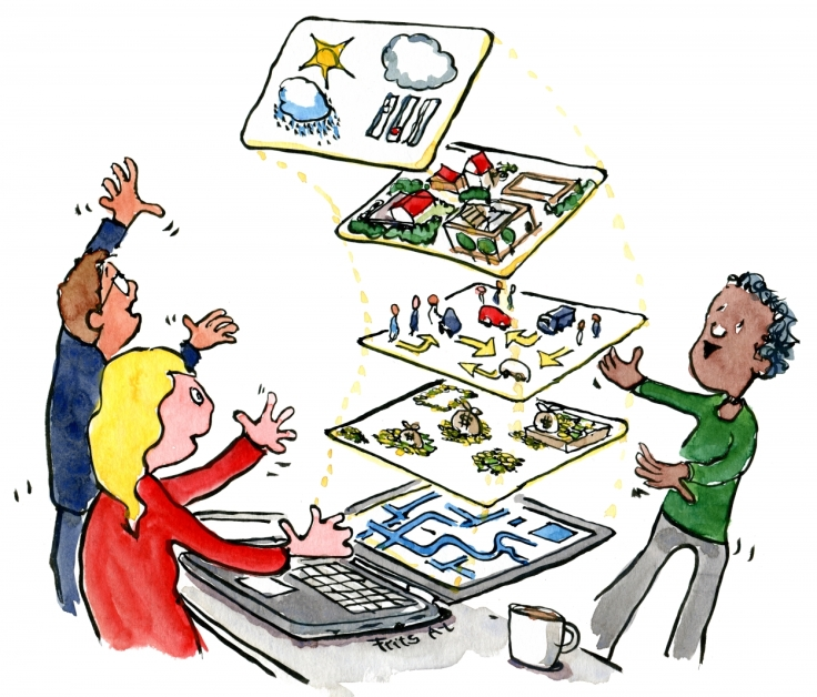 Drawing of people looking at a data visualization on a laptop