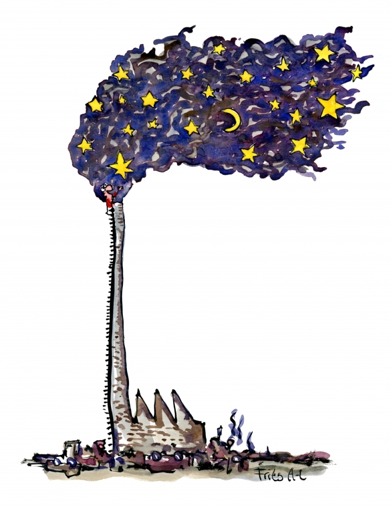 Drawing of a chimney with moon and stars, and a man climbing to the top