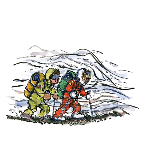 Drawing of two expedition hikers, in extreme weather