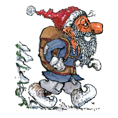 Drawing of a elf hiking, with a backpack in winter time.