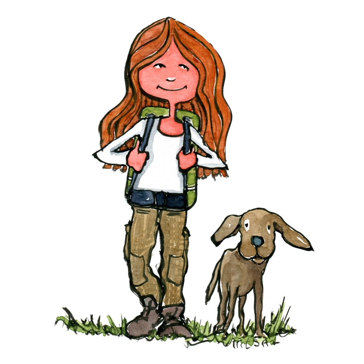 hikertypes - dog hiker illustration, girl with backpack walking with a dog