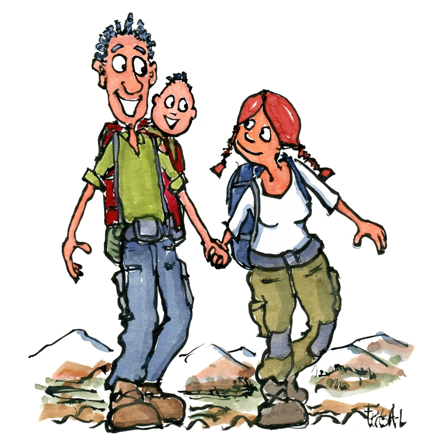 man, woman and kid in baby carrier out hiking