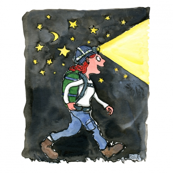 Woman walking with headlamp at night drawing