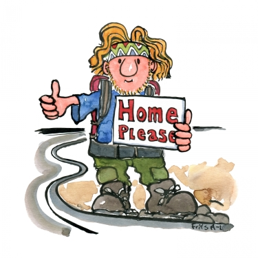 Hitchhiker illustration, standing with sign saying home please
