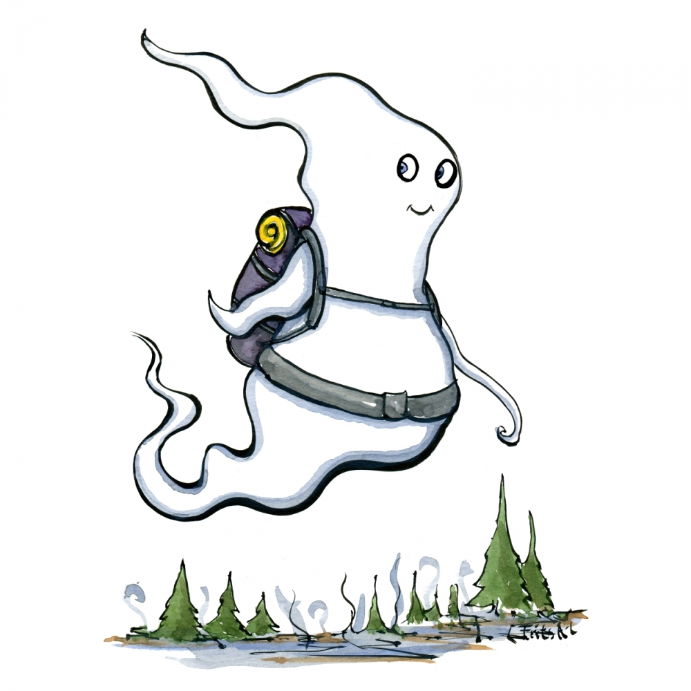 Illustration of a classic ghost with a backpack