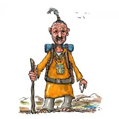 Drawing of a spiritual hiker