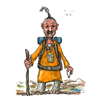 Drawing of a spiritual hiker