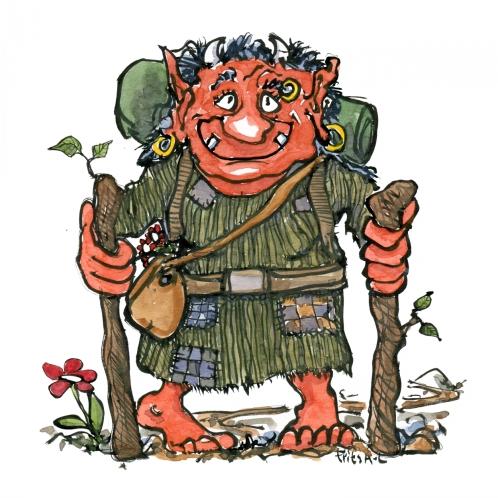 Drawing of a troll hiking