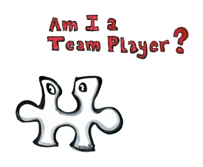 Drawing of a puzzle piece in doubt if it is a team player
