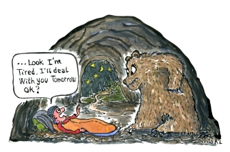 hiker in a sleeping bag and a bear, hiker saying I will deal with you in the morning