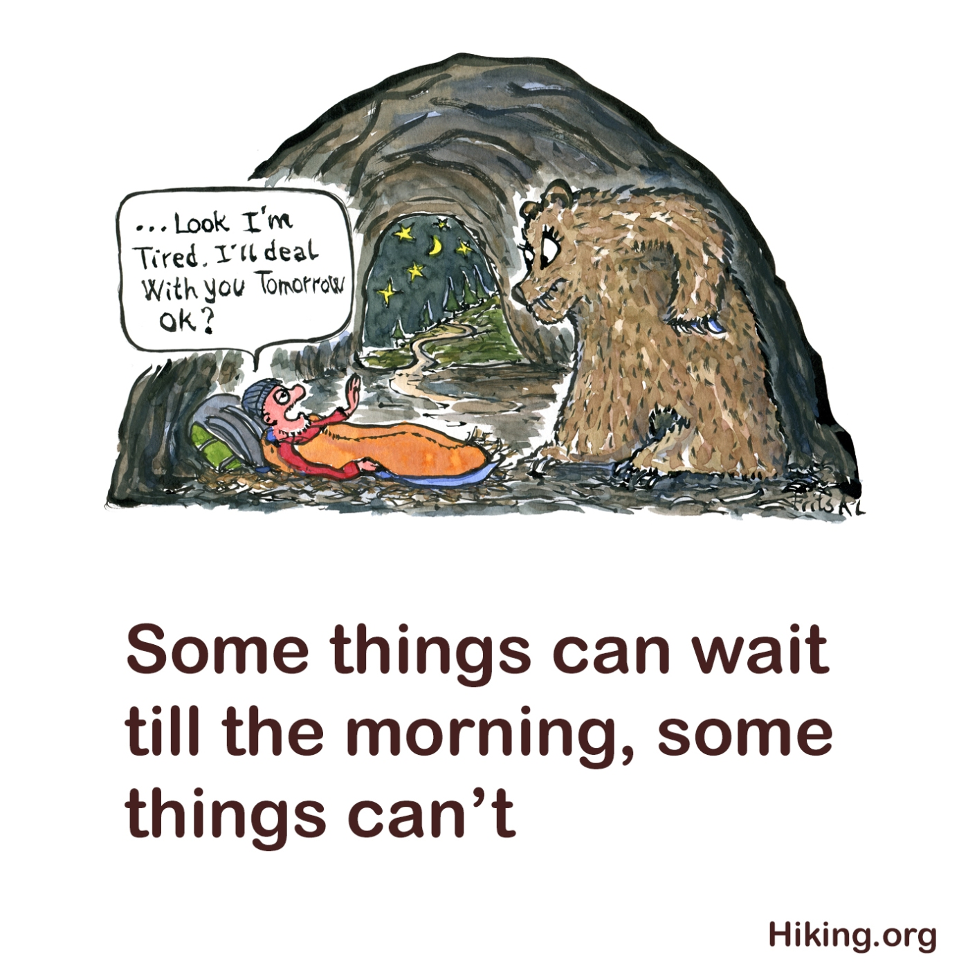 conflict-avoidance-postphone-talk-about-it-tomorrow-hiker-bear-hiking-square-txt-illustration-by-frits-ahlefeldt