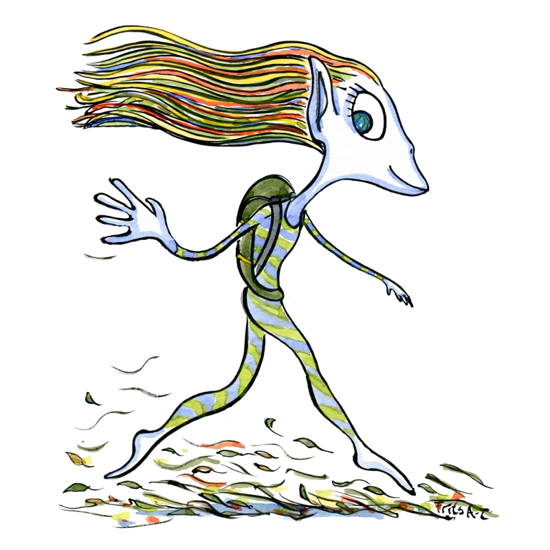 Drawing of an elver hiking, walking very llightly
