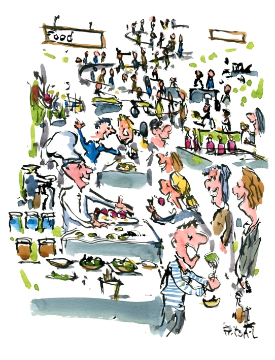 Drawing live from a food fair