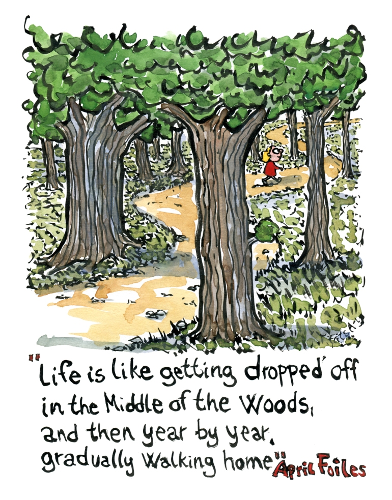 Life is like getting dropped of in the middle of the woods and then year by year gradually walking home