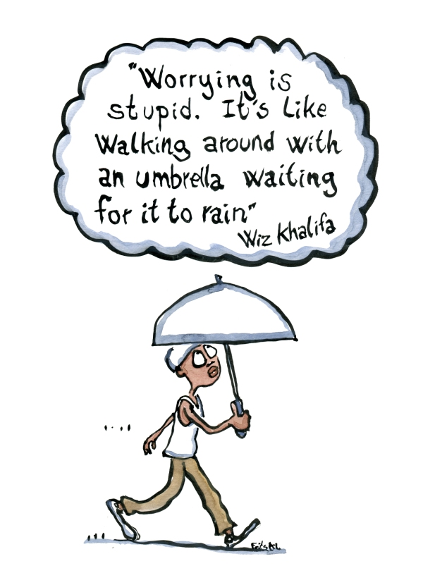 Man walking with umbrella under a cloud with the text: Worrying is stupid. it's like walking around with an umbrella, waiting for it to rain""