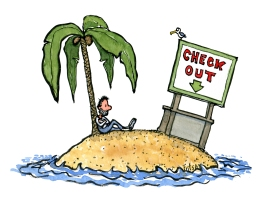 Guy on an island watching a check out sign