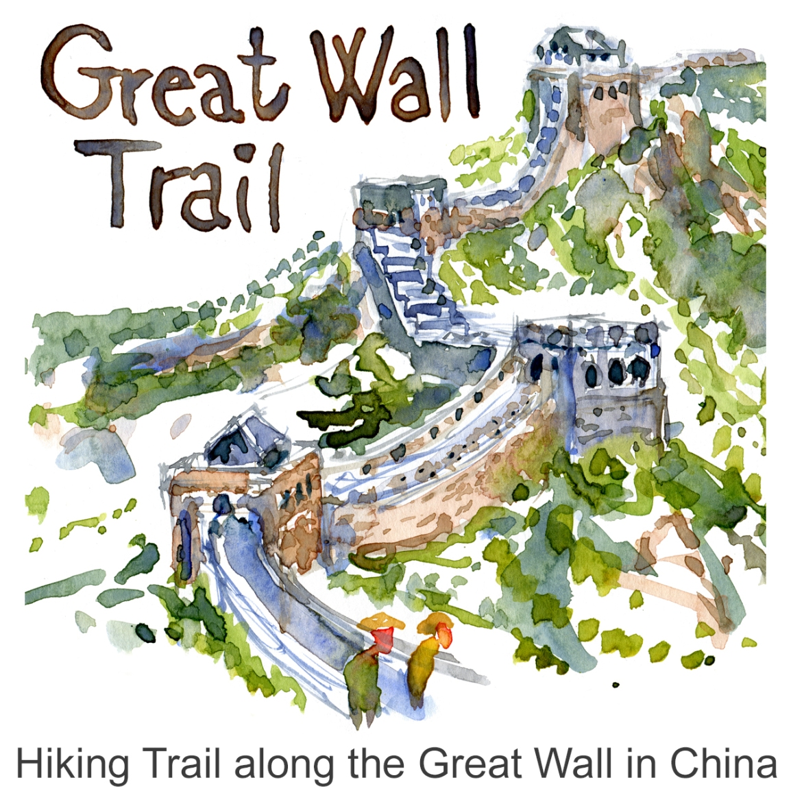 Sketch China Great Wall Trail Watercolor