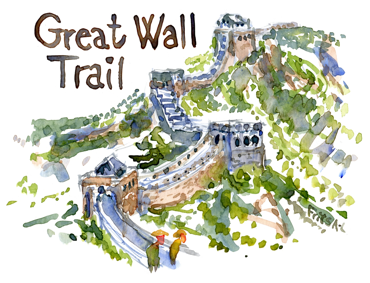 Watercolor of Chinese Great Wall