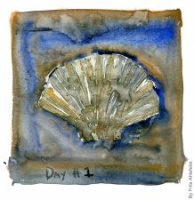 The Camino de Santiago shell watercolor