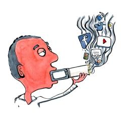 Man taking a digital fix - drawn as smoking a mixture of digital media
