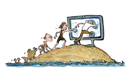 digital-evoloution-chain-classic-from-fish-to-screen-technology-illustration-by-frits-ahlefeldt