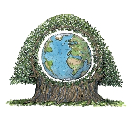 illustration of Earth in the middle of a huge tree