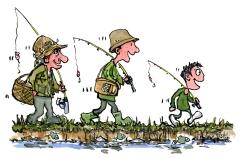 fisherman-three-generation-grand-dad-kid-walking-by-stream-illustration-by-frits-ahlefeldt