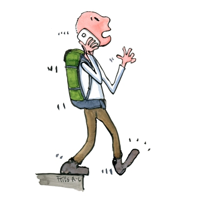 hikertype-phone-hiker-walking-out-over-edge-distraction-illustration-by-frits-ahlefeldt