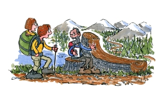 hiking-with-mother-in-backpack-trail-eco-therapy-psychology-illustration-by-frits-ahlefeldt