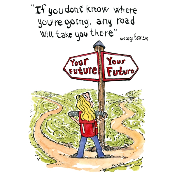 "Drawing with a woman looking at a signpost with ""your future on both ways. with Quote by George Harrison - if you don't know where you are going any road will take you there..."