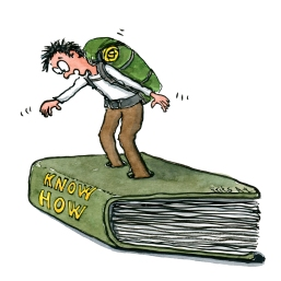 know-how-stucked-in-book-hiker-type-illustration-by-frits-ahlefeldt
