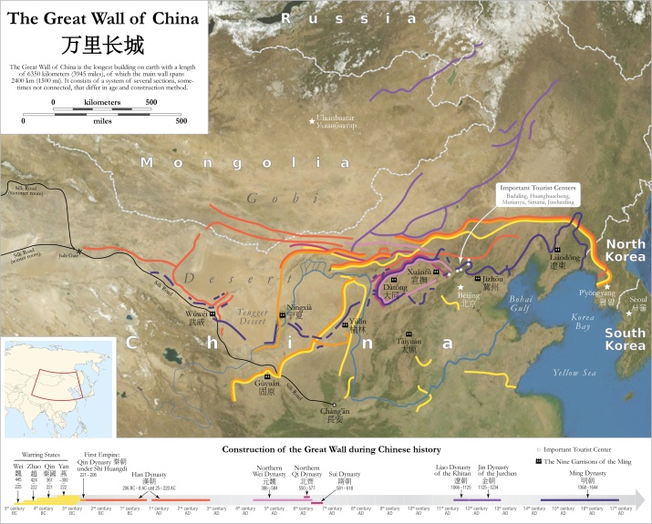 Map of the Great Wall of China