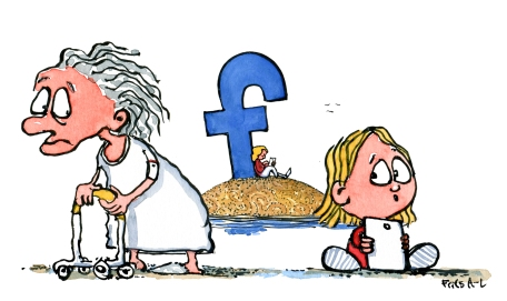 old-lady-senior-f-island-social-media-and-kid-little-girl-with-ipad-loneliness-technology-illustration-by-frits-ahlefeldt