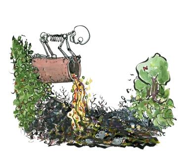 pollution-sewage-skeleton-dead-fish-stream-biodiversity-loss-habitat-illustration-by-frits-ahlefeldt