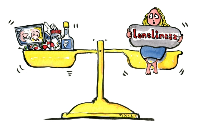 scale-drugs-social-media-entertainment-vs-loneliness-illustration-by-frits-ahlefeldt