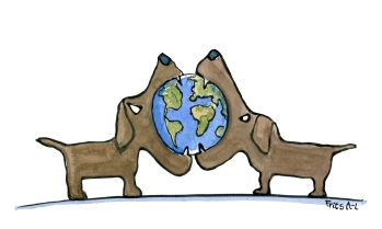 drawing of two dogs fighting over a planet