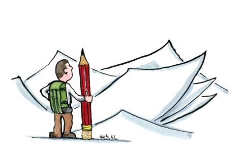 writing-trail-empty-paper-challenge-storytelling-illustration-by-frits-ahlefeldt