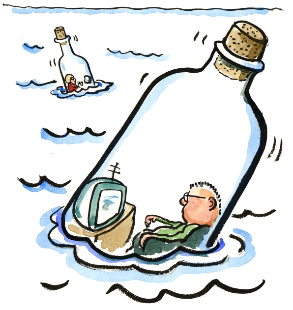 Man in a bottle in sea, with a television and a woman in another bottle floating a bit away