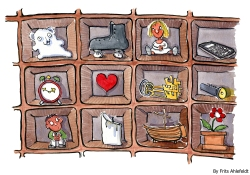 Storage system with different objects in it, heart, girl, rollerblades, flash light, flower etc