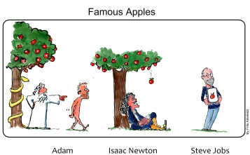 Drawing of evolution of the human role, from being thrown out of paradise, to sitting under a tree, doing science, to being on a touch screen