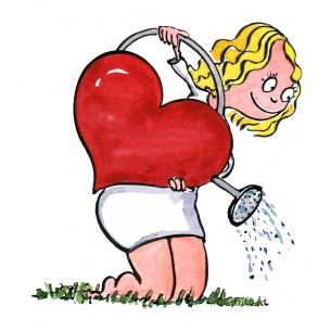 What you saw is what you reap illustration, girl watering flowers with a heart-shaped water-can