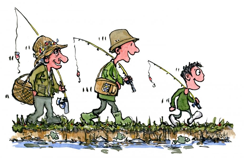 Three fishermen walking, granddad, dad and son
