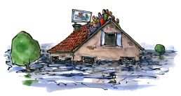 flooding-house-flooded-people-on-roof-watching-tv-extreme-weather-illustration-by-frits-ahlefeldt