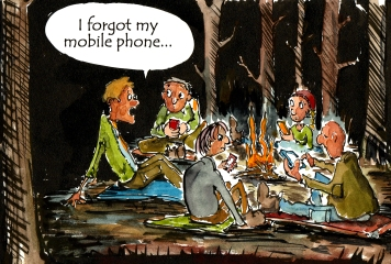 drawing of a guy who forgot his phone while hiking with friends, that all are on their phones around the campfire