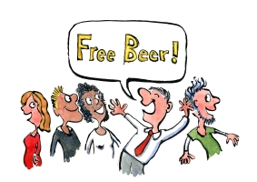 drawing of a man shouting free beer