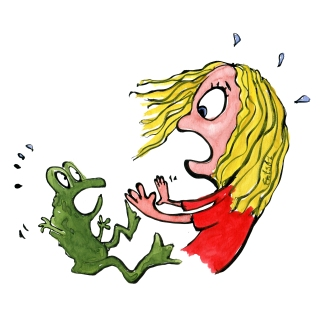 frog and girl pusing each other away looking displeased