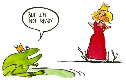 """Princess looking at a prince frog that say I'm not ready"""""""