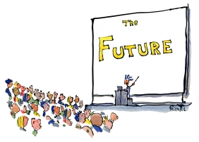 man making a power point presentation about the future