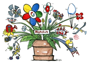 Google alphabet as a flower pot with a lot of different projects sticking out
