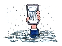 Businessman hand sticking out of the water holding a smartphone with a cloud on it